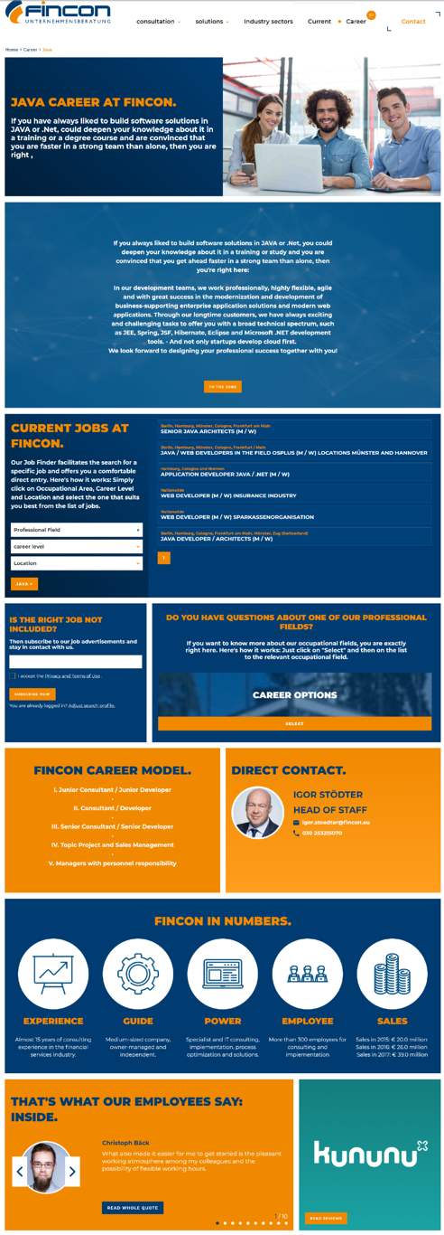 example landing page FINCON
