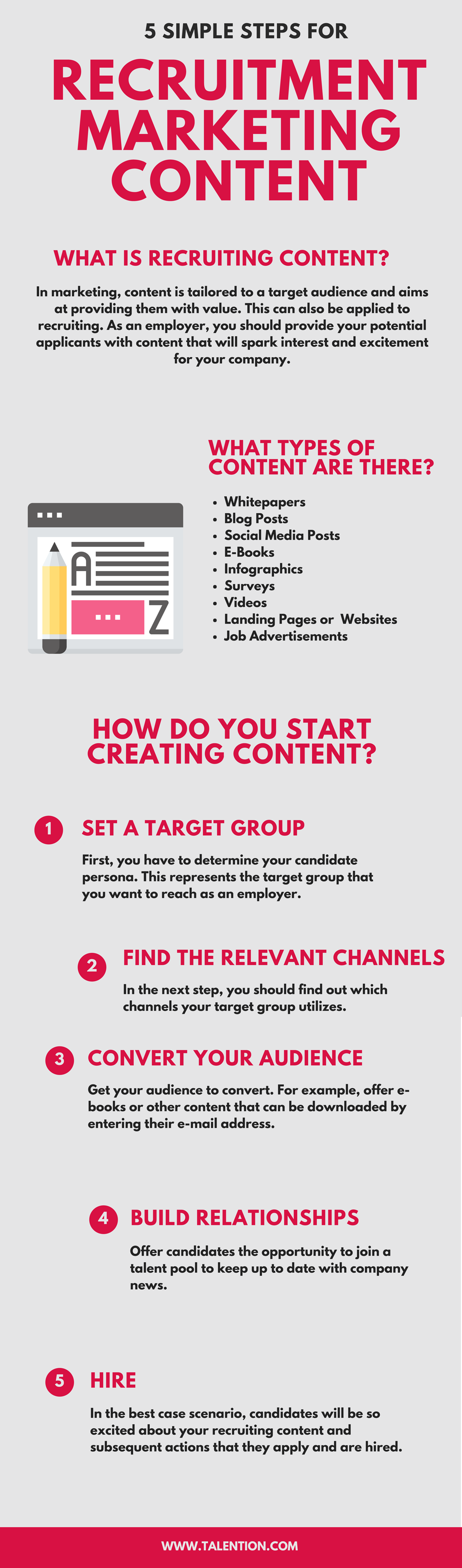 5 Simple Steps for Recruitment Marketing Content Infographic