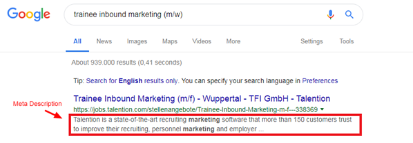 Job Ad Meta Description SEO
