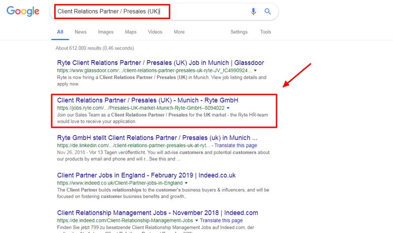 organic search results ryte job