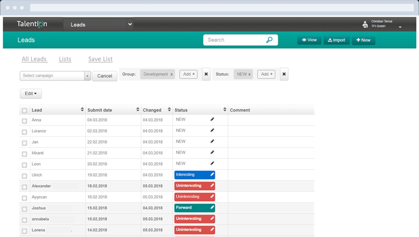 Talent Network Active Sourcing Database
