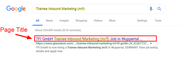 Job Ad Page Title SEO