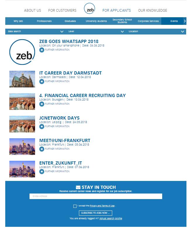 Interview zeb: example Events