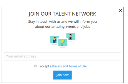 Talention talent network pop-up form